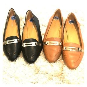 NWT Coach Tan & Black Pointed toe Flats 6.5